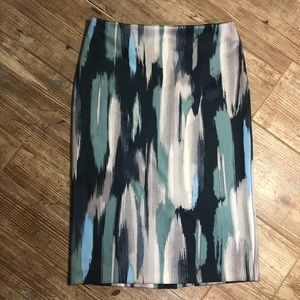 NY&CO Stretch Pencil Skirt. Blue, Green, and Gray